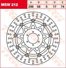 TRW MSW Zwevende remschijf MSW212