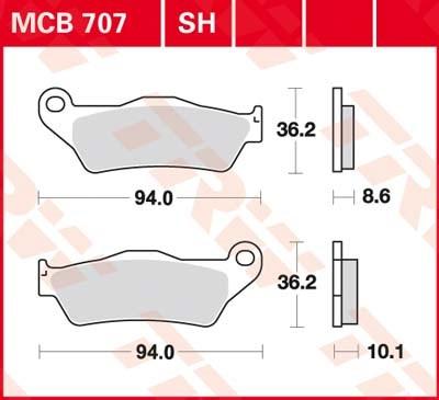 TRW Plaquettes de frein organique MCB707