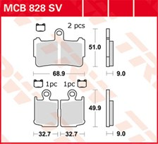 TRW Plaquettes de frein SV/SH MCB828SV