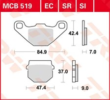 TRW Plaquettes de frein organique EC MCB519EC