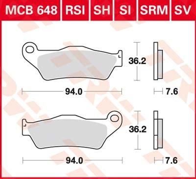 TRW Plaquettes de frein métal fritté SRM MCB648SRM