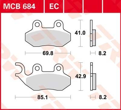 TRW Plaquettes de frein organique EC MCB684EC