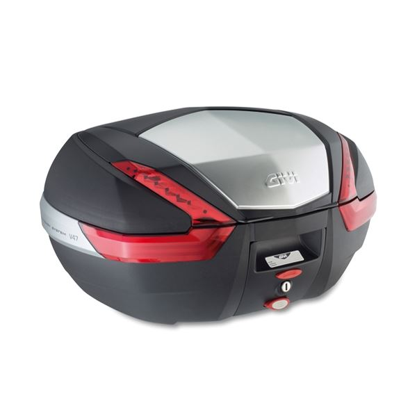 GIVI V47 topkoffer rode reflectoren, aluminium afwerking
