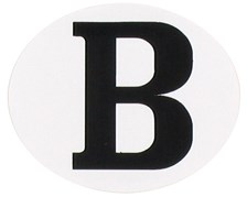 """""""B""""-sticker ovaal horizontaal """"B"""" sticker ovaal horizontaal"""
