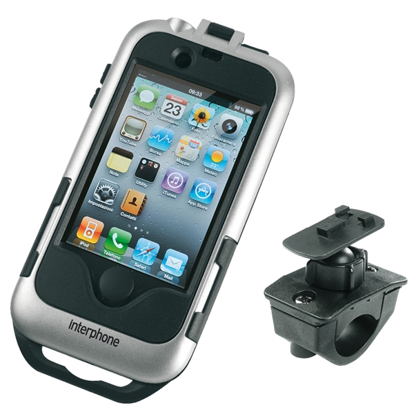INTERPHONE Porteur iPhone 4 moto, argent