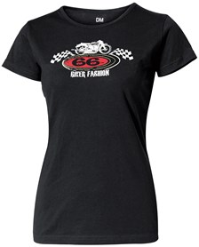 "T-Shirt ""Retro Bike"" Lady Zwart"