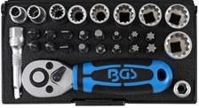 """BGS TECHNIC Mini dopsleutelset 1/4"""", 28-delig"""