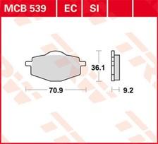 TRW Plaquettes de frein organique EC MCB539EC