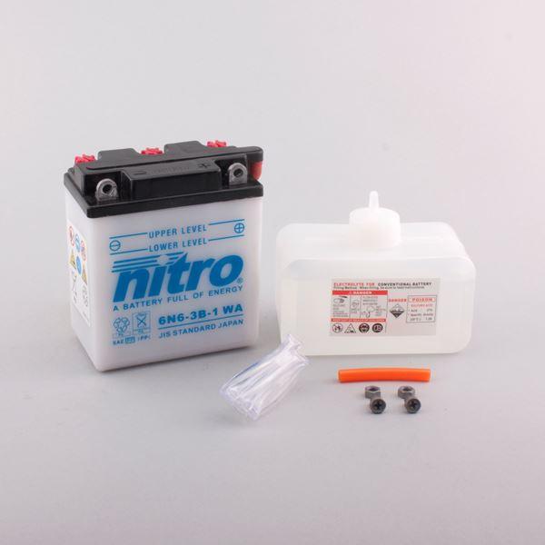 NITRO Batterie conventionnelle avec flacon d'acide 6N6-3B-1