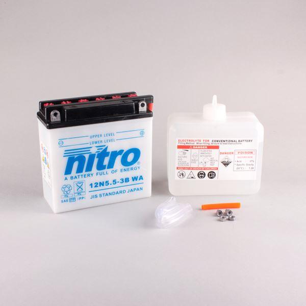 NITRO Batterie 12V conventionnelle avec flacon d'acide 12N5.5A-3B