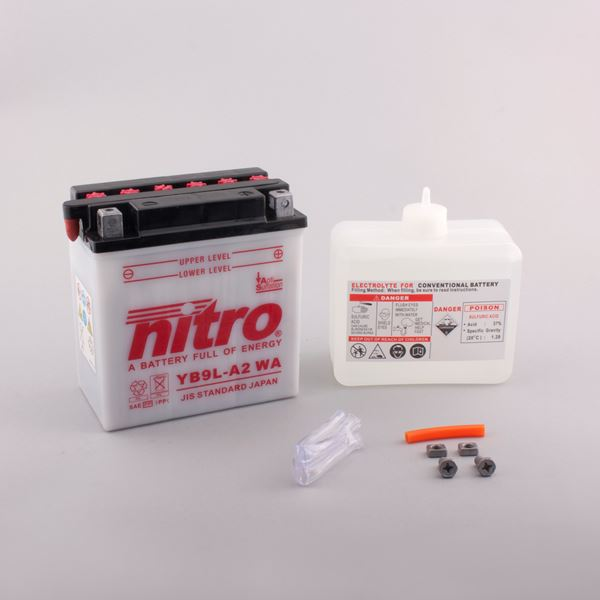 NITRO Batterie conv. anti sulfation avec flacon d'acide YB9L-A2