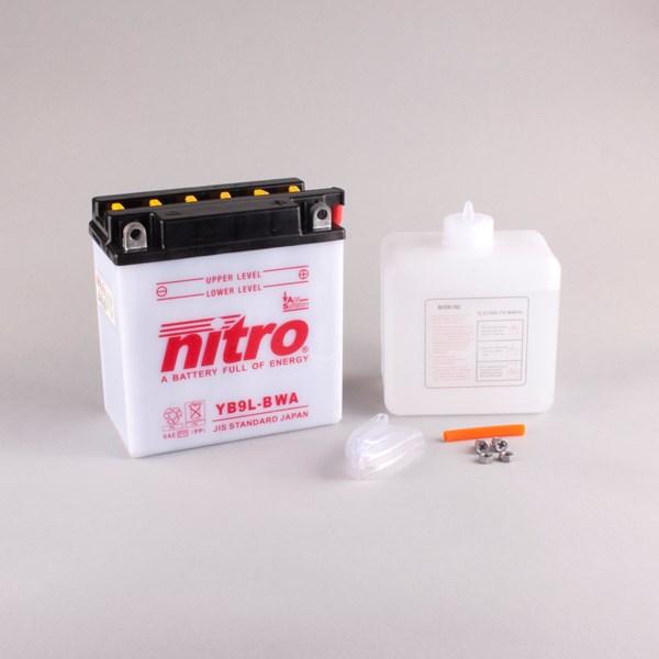 NITRO Batterie conv. anti sulfation avec flacon d'acide YB9L-B