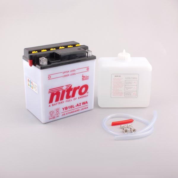 NITRO Conventionele batterij antisulfatie met fles zuur YB10L-A2