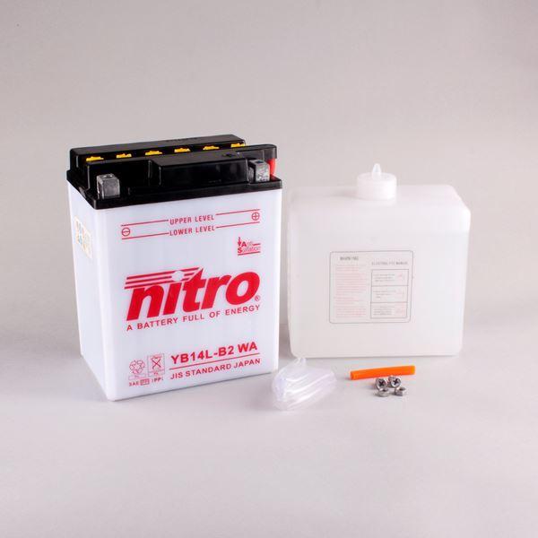 NITRO Batterie conv. anti sulfation avec flacon d'acide YB14L-B2