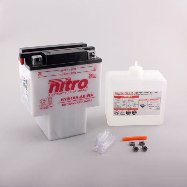 NITRO Batterie conv. anti sulfation avec flacon d'acide HYB16A-AB