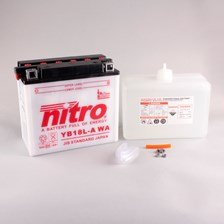 NITRO Batterie conv. anti sulfation avec flacon d'acide YB18L-A