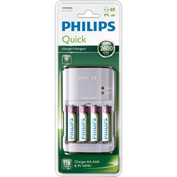 PHILIPS : QUICK Charger incl. 4 x AA 2700 incl.  - QUICK Charger incl. 4 x AA 2700 incl.