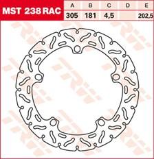 TRW Remschijf MST238RAC