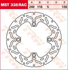 TRW MST disque fixe avec RAC design MST338RAC