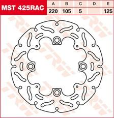 TRW MST disque fixe avec RAC design MST425RAC