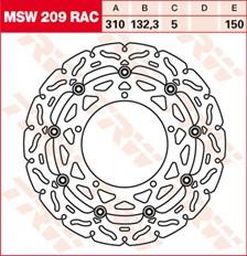 TRW MSW disque de frein flottant RAC design MSW209RAC