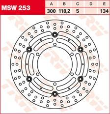 TRW MSW Zwevende remschijf MSW253