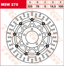 TRW MSW Zwevende remschijf MSW279
