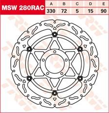 TRW MSW zwevende remschijf RAC design MSW280RAC