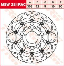 TRW MSW disque de frein flottant RAC design MSW281RAC