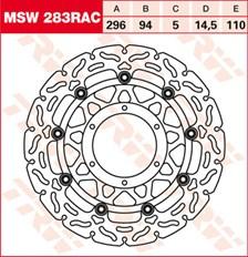 TRW MSW disque de frein flottant RAC design MSW283RAC