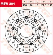 TRW MSW Zwevende remschijf MSW284