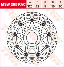 TRW MSW disque de frein flottant RAC design MSW285RAC