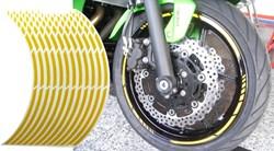 KEITI : Voorgevormde wiel stickers - Geel reflecterend