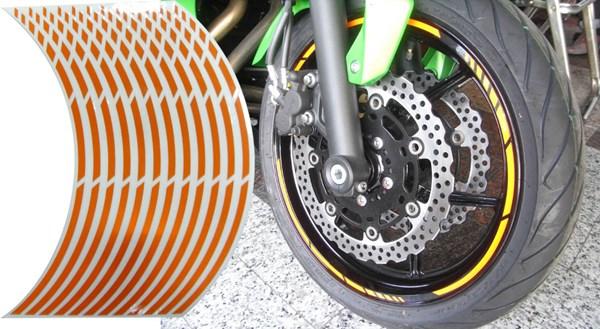 KEITI Voorgevormde wiel stickers Oranje reflecterend