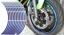 Voorgevormde wiel stickers Blauw reflecterend