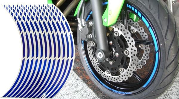 KEITI Voorgevormde wiel stickers Blauw reflecterend