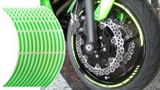 Voorgevormde wiel stickers Fluo groen