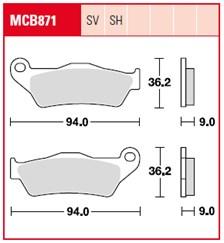 TRW Plaquettes de frein SV/SH MCB871SH