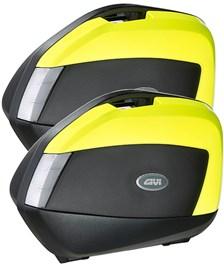 V35 zijkoffers fumé reflectoren, fluo gele cover