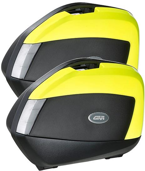GIVI V35 zijkoffers fumé reflectoren, fluo gele cover