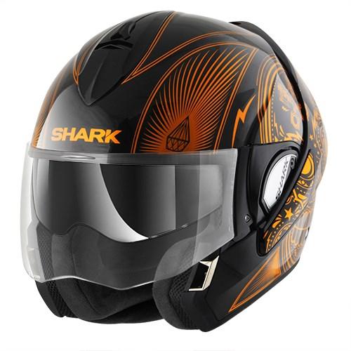 SHARK Evoline 3 Mezcal Zwart-Chroom-Oranje KUO