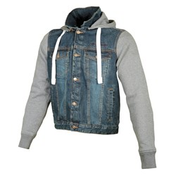 BOOSTER : Hoodie jacket Denim Men - denim / gris