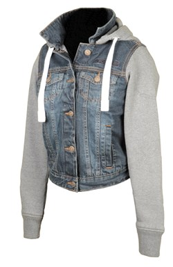 BOOSTER : Hoodie jacket Denim Lady - denim / grijs