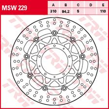 TRW MSW Zwevende remschijf MSW229