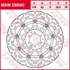 TRW MSW zwevende remschijf RAC design MSW230RAC