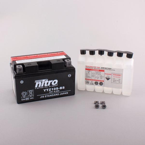NITRO Batterie fermée avec pack acide YTZ10S-BS