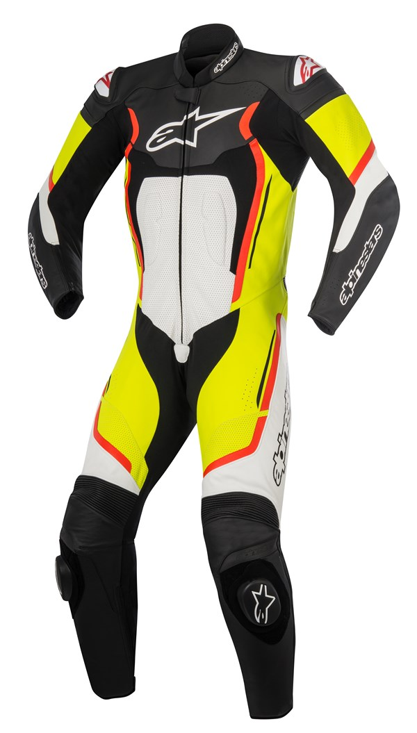ALPINESTARS Motegi V2 1PC Suit Zwart-Wit-Fluo Rood-Fluo Geel