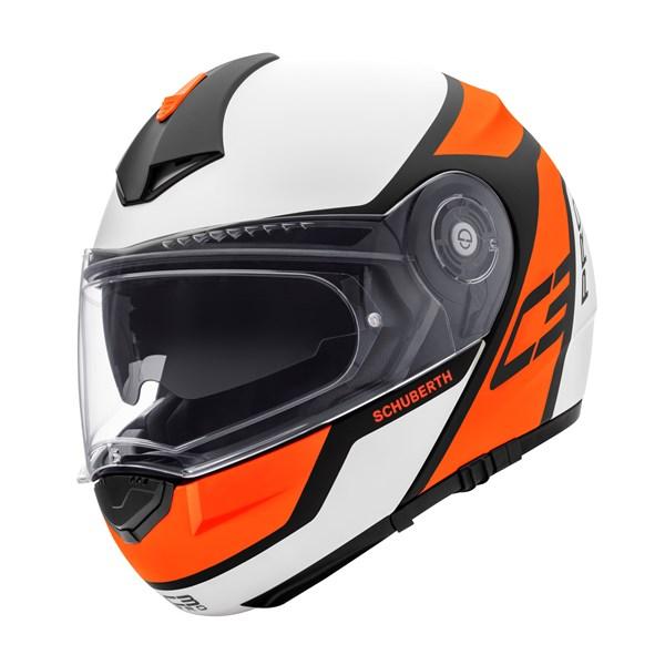 SCHUBERTH C3 Pro Echo Blanc Mat-Orange Fluo