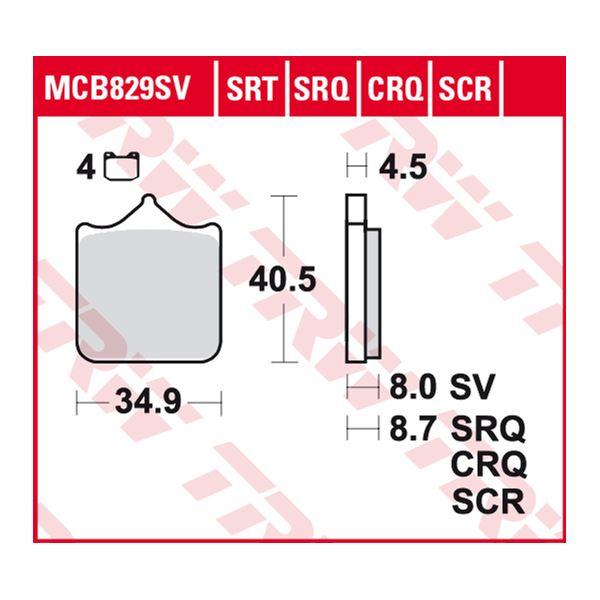 TRW SRT remblokken MCB829SRT