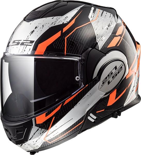 LS2 FF399 Valiant Roboto Zwart-Oranje-Chroom